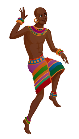 African man takes ethnic ritual dance in national costume. Raster illustration