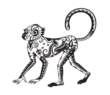 The stylized figure of an monkey in the festive patterns. Raster illustration Imagens