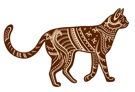 The stylized figure of a cat in festive patterns. Raster illustration