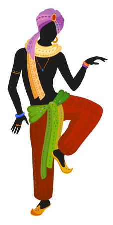 Indian fakir perform ethnic dance in national costume. Raster illustration Stock Photo