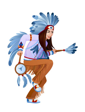 Amerind takes ethnic ritual dance in national costume. Raster illustration