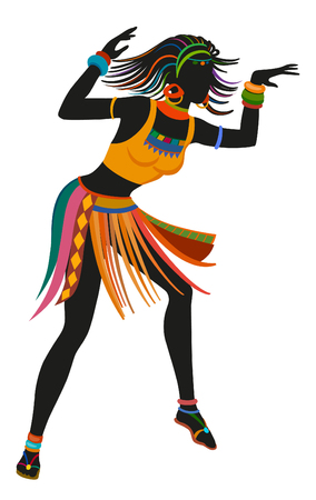 African woman dancing ritual dance in the bright national costume. Raster illustration