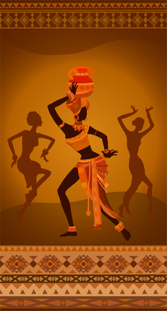 Ethnic vintage ornament greeting card with dancing Africans. Raster illustration