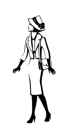 Abstract retro portrait of a woman in a hat and skirt suit. Vintage lady in high-heeled shoes with handbag. Fashion illustration black ink hand drawn silhouette