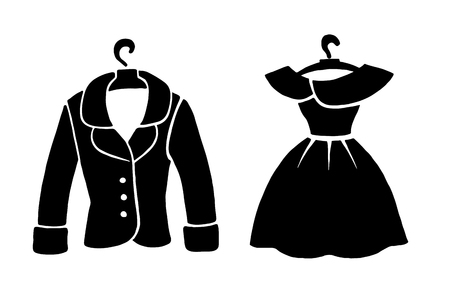 Fashion icons. Fashionable dress and jacket on a hanger. Black fashion illustration on a white background Ilustração