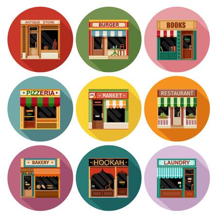Piatto stile caffetteria ristorante negozio negozio piccolo set di icone di fantasia. Antiquariato, mercato, libri, panetteria, ristorante, narghilè, hamburger, pizza, bar, lavanderia
