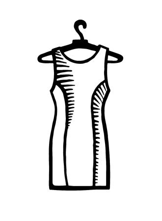 Hand drawn fashion icon. Fashionable dress on a hanger. Black fashion illustration on a white background Illustration