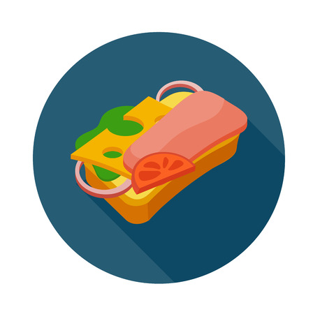 Flat style colorful sandwich icon with shadow.  Fast food vector illustration. Sandwich with ham cheese lettice and tomato