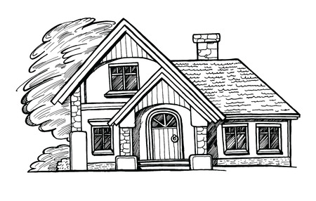 Black and white sketch of a cottage facade on white background. Ink hand drawn vector illustration. Two-storey house with landscaping