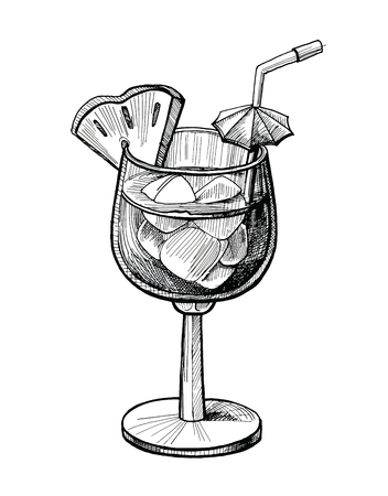 Alcohol cocktail hand drawn vector illustration. Vintage cocktail sketch with ice, pine apple, tube beverage ink drawing for bar or pub menu. Graphic image isolated on white background
