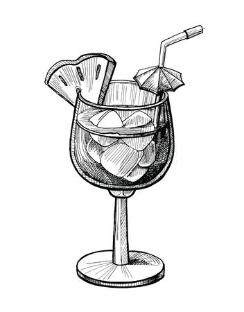 Illustrazione disegnata a mano di vettore del cocktail dell'alcool. Schizzo di cocktail vintage con ghiaccio, ananas, disegno a inchiostro per bevande a tubo per menu da bar o pub. Immagine grafica isolata su sfondo bianco