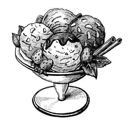 Eiscreme in der gezeichneten Vektorillustration der Vasenhand. Vintage Eiscremeskizze mit Erdbeerschokolade und Zimtstangen. Dessert-Food-Tintenzeichnung für Café- oder Restaurantmenü. Grafisches Bild