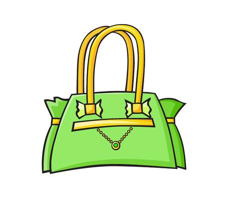 Fashion pop art style ladies green handbag. Hand drawn vector sticker, pin, patch, illustration in cartoon 80s-90s comic style Vektorové ilustrace