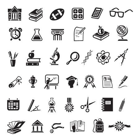 Education icon set in minimalist style. Black sign on white background. Books, globe, dna, scissors, bal, retort, beaker, calculator, cup winner, alarm clock, apple, spectacles