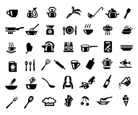 Cooking and kitchen icon set in minimalist style. Black sign on gray background Stock Illustratie