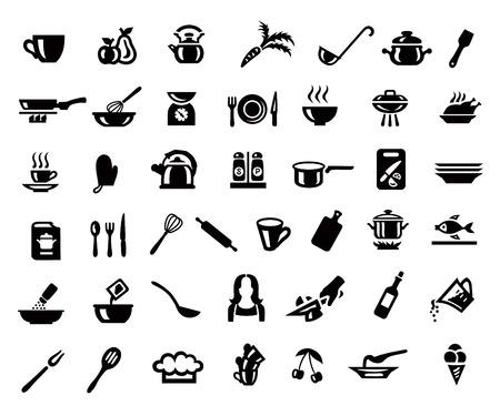 Koken en keuken pictogrammenset in minimalistische stijl. Zwart teken op grijze achtergrond