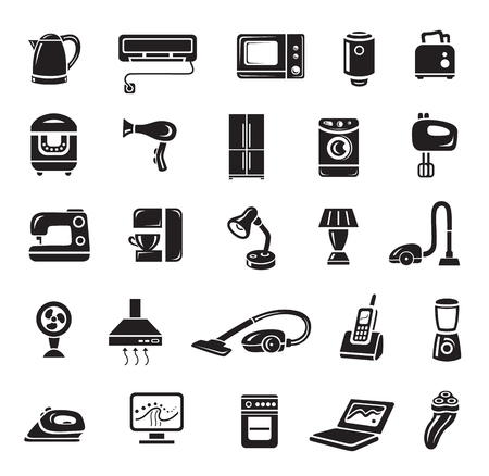 Household appliances icon set in minimalist style. Black sign on white background. Toaster, sewing machine, multi cooker, tea pot, air conditioning, fen and other