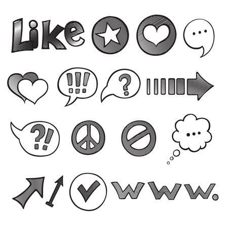 Jeu d'icônes Web et ordinateur. Icônes de Doodles Sketchy noir dessinés à la main pour Internet. Retour au style de l'école. Éléments de conception d'illustration vectorielle