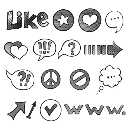 Web and Computer Icon Set. Hand drawn black Sketchy Doodles icons for the Internet. Back to School Style. Vector Illustration Design Elements