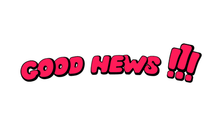 Good news. Words in speech bubble patch badge. Comic book style vector inscription, sticker, pin, patch in cartoon 80s-90s comic style