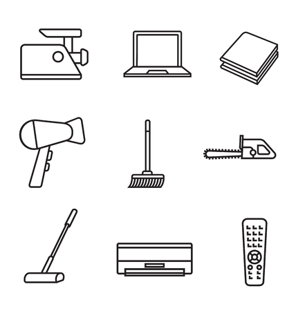 Household appliances line icon set in minimalist style. Black line sign on white background. Meat grinder, laptop, hair dryer, air conditioning and other