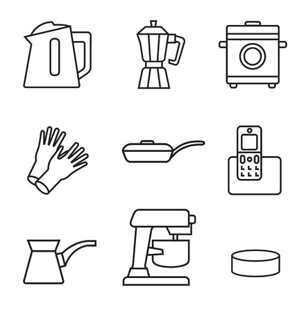 Household appliances line icon set in minimalist style. Black line sign on white background. Kettle, home glove, multi cooker, coffee grinder, mixer and other