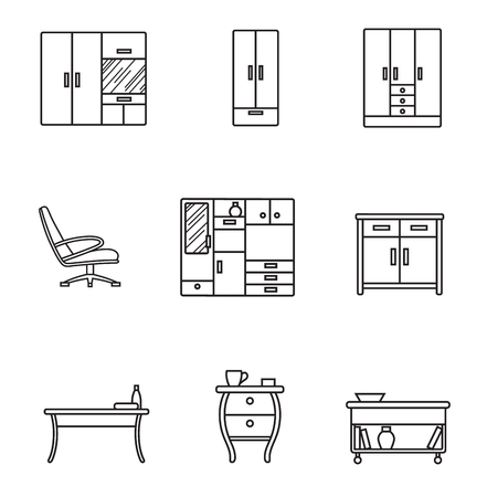 Basic Furniture thin line icon set in minimalist style. Black line sign on white background. Chair, table, wardrobe and other