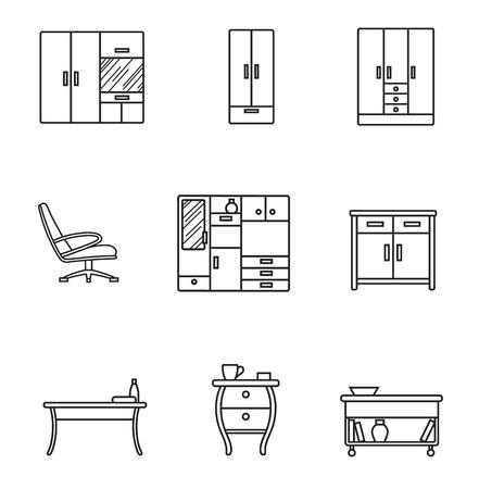 Icono de delgada línea de muebles básicos en estilo minimalista. Signo de línea negra sobre fondo blanco. Silla, mesa, armario y otros Foto de archivo - 108574084