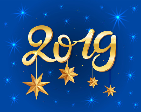New year 2019 greeting card with gold texture volume lettering and stars. Golden texture effect vector lettering for banners or card on a dark blue background. Calligraphic hand drawn font. Font composition