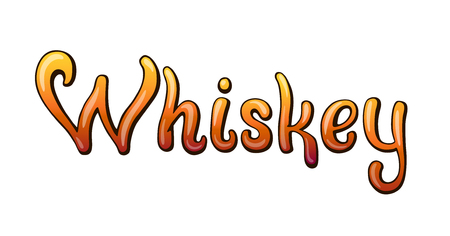 Whiskey handwritten lettering. Restaurant cafe menu title. Calligraphic graffiti comic style headline. Colorful bright volume font. Typographic pop-art inscription for bar menu poster sticker label