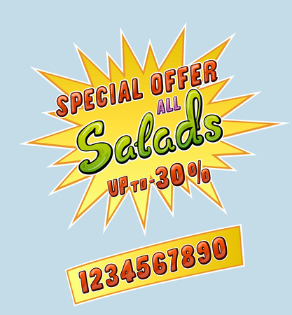 5158f0662 Salads promo sticker for cafe restaurant or store and set of numbers up to.  Comic