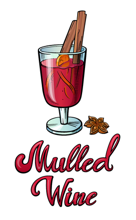Mulled wine lettering. Restaurant cafe bar menu title with a glass anise cinnamon sticks illustration. Calligraphic headline. Colorful bright volume font. Typographic pop-art inscription for poster