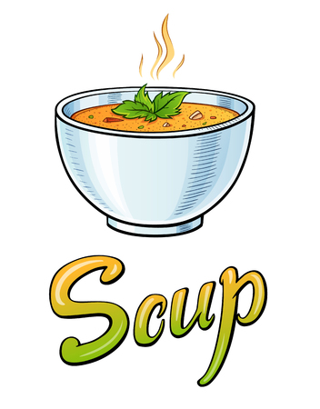 Soup lettering and illustration. Restaurant cafe bar menu title. Soup in a deep plate with green leaves. Calligraphic headline. Colorful bright volume font. Typographic pop-art inscription Illustration