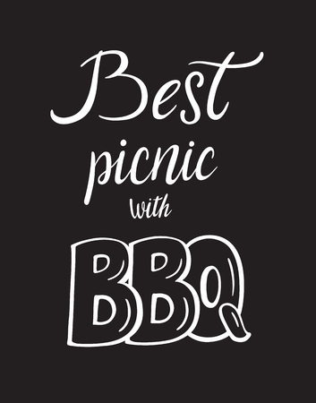 Best picnic with bbq. Picnic food cooking lettering designs for print and web projects. Typography for cafe restaurant banners stickers posters. Modern calligraphy and hand drawn font