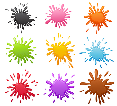 Cartoon colorful volume blots set. Base for sticker comic bubble speech or other kind of design. Decorative vector color spot with different shapes