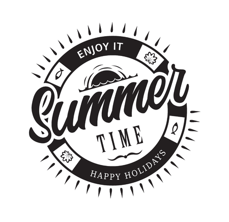 Summer time happy holidays enjoy it emblems or logo badge hand drawn calligraphy. Black vector lettering design for vacation tour on a white background. Typographic symbol with sea and sunset 일러스트