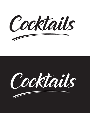 Cocktails handwritten lettering design set. Restaurant cafe menu titles. Calligraphic headlines. Black font on a white background and inverted image. Vector typographic inscription