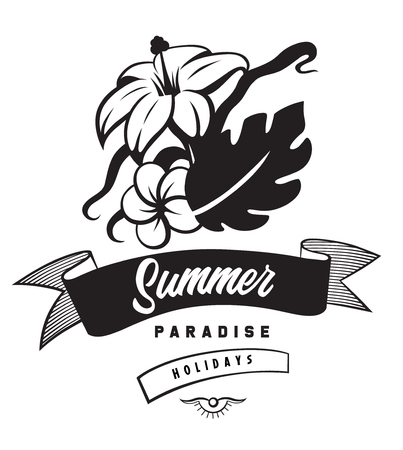 Summer paradise holidays emblems or logo badge with hand drawn calligraphy. Black vector lettering design for vacation tour on a white background. Typographic symbol with a flowers