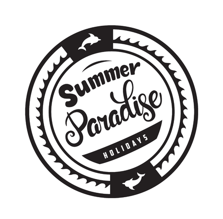 Summer paradise holidays emblems or logo badge with hand drawn calligraphy. Black vector lettering design for vacation tour on a white background. Typographic round shape symbol 向量圖像