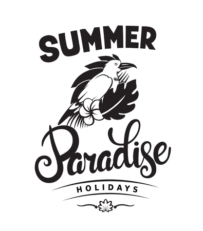 Summer paradise holidays emblems or logo badge with hand drawn calligraphy. Black vector lettering design for vacation tour on a white background. Typographic symbol with tropical bird and flowers 向量圖像