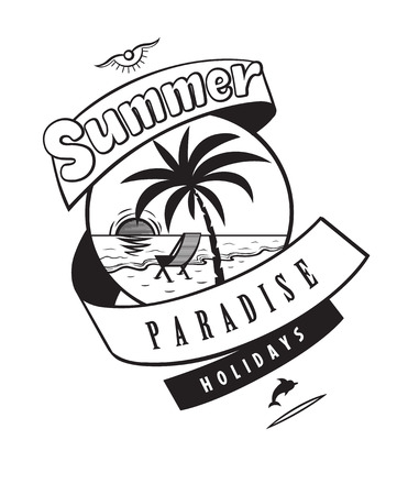 Summer paradise holidays emblems or logo badge hand drawn calligraphy. Black vector lettering design for vacation tour on a white background. Typographic symbol with sea and yacht