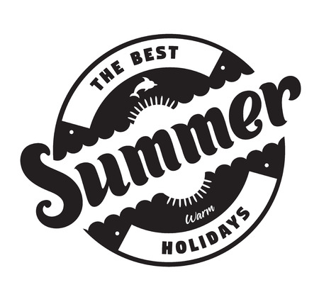 The best summer warm holidays emblems or logo badge with hand drawn calligraphy. Black vector lettering design for vacation tour on a white background. Typographic round shape symbol
