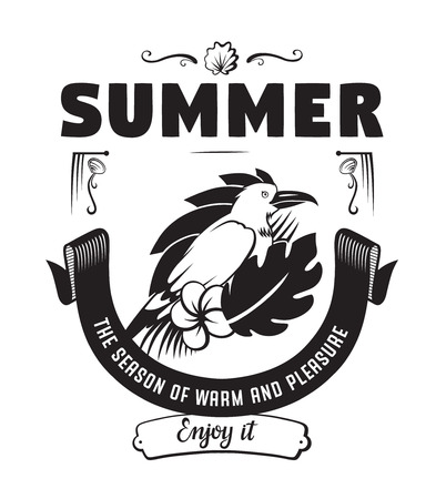 Summer the season emblems or logo badge with hand drawn calligraphy. Black vector lettering design for vacation tour on a white background. Typographic symbol with tropical bird and flowers
