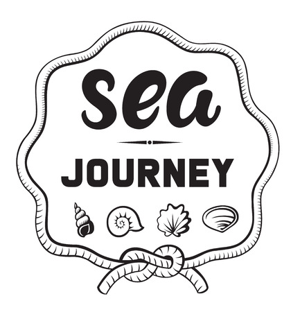 Sea journey emblems or logo badge with hand drawn calligraphy. Black vector lettering design for vacation tour on a white background. Typographic symbol with a rope shells and knot 向量圖像