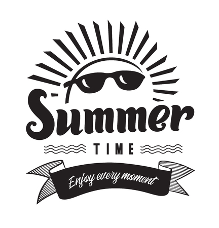 Enjoy every moment summertime emblems or logo badge hand drawn calligraphy. Black vector lettering design for vacation tour on a white background. Typographic symbol with sun and sunglasses