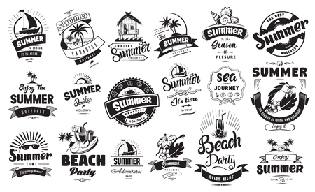 Summer holidays emblems or logo badge set with hand drawn calligraphy. Black vector lettering design for vacation tour on a white background. Typographic symbol with palms flowers bird and other 向量圖像