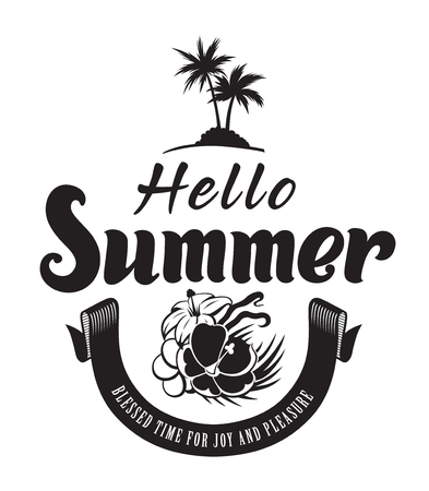Hello summer time emblems or logo badge with hand drawn calligraphy. Black vector lettering design for vacation tour on a white background. Typographic symbol with a palms and flowers