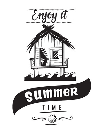 Summer time enjoy it holidays emblems or logo badge with hand drawn calligraphy. Black vector lettering design for vacation tour on a white background. Typographic symbol with a beach house