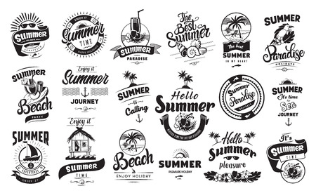 Summer holidays emblems or logo badge set with hand drawn calligraphy. Black vector lettering design for vacation tour on a white background. Typographic symbol with beach house shells and other Stock Illustratie