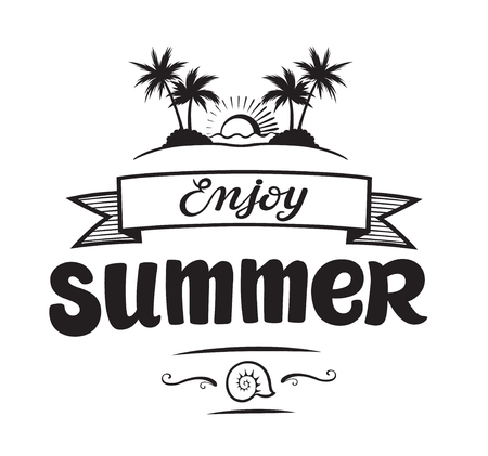Enjoy summer emblems or logo badge hand drawn calligraphy. Black vector lettering design for vacation tour on a white background. Typographic symbol with palms and sun Stock Illustratie
